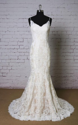 Backless Wedding Dress With Lace | Lace Open Back Bridal Gowns ...