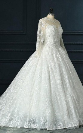 Long Sleeve Cathedral Train Tulle Lace Satin Dress With Beading Illusion