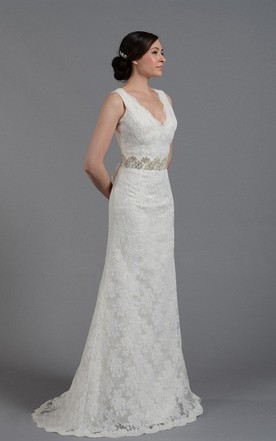 Elegant V Neck Long Lace Wedding Gown With Beading