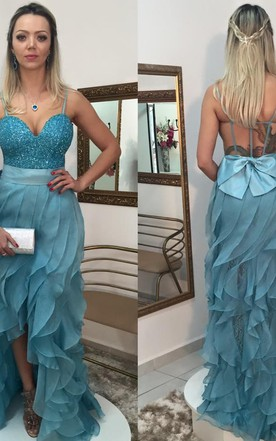 Sexy Sequins Hi-Lo Ruffles Prom Dress 2016 Spaghetti Strap Sweep Train