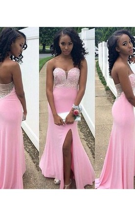 Trumpet Mermaid Sleeveless Sweetheart Chiffon Beading Sweep Brush Train Dresses