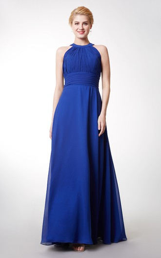 Halter Ruched Long Bridesmaid Dress With Key-hole Back