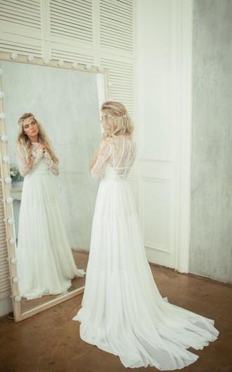 Wedding dress lace bodice chiffon skirt : Long sleeve lace bodice chiffon skirt a line wedding dress june