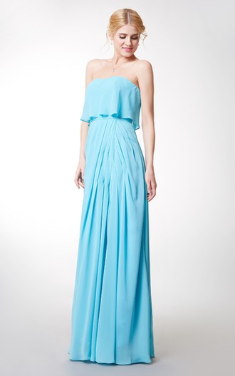Charming Strapless Pleated Long Chiffon Dress With Front Slit