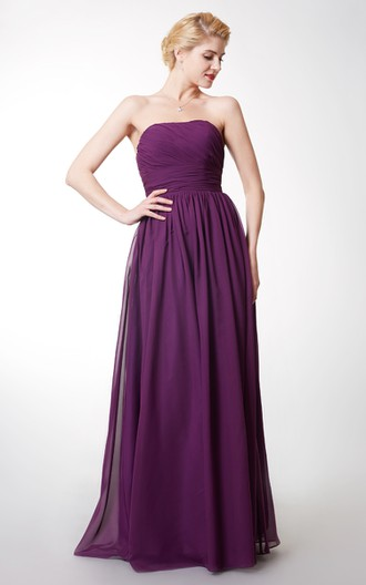 Strapless Ruched Empire Long Bridesmaid Dress
