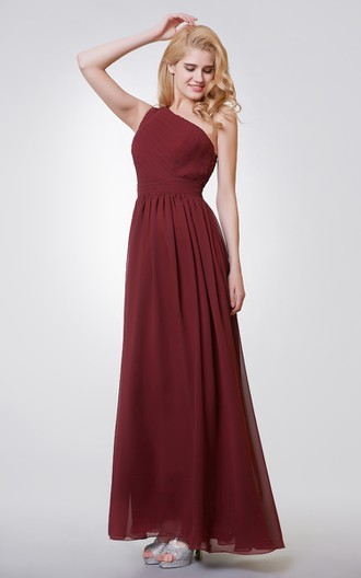 One Shoulder Long Chiffon Formal Dress with Keyhole Back