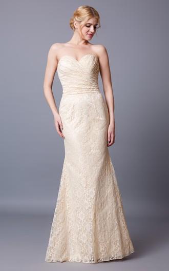 Sweetheart Mermaid Lace Long Bridesmaid Dress