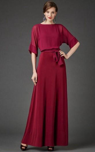 Bateau Neck Half Sleeve Chiffon Dress With Sash June Bridals