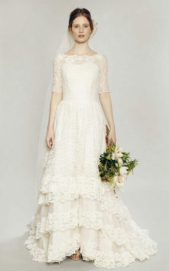 vintage jewel neck short sleeve lace wedding dress with