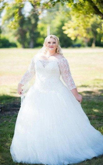 Plus size off shoulder tulle and lace a line wedding dress for Wedding dresses for tall plus size