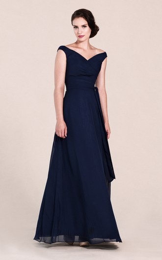Off-shoulder V-neck A-line Dress With Ruchings