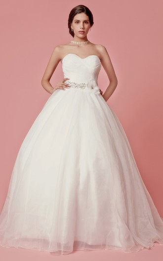 Sweetheart Organza Ball Gown With Crisscross Ruching
