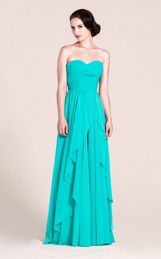 Sweetheart A-line Long Chiffon Dress With Pleats