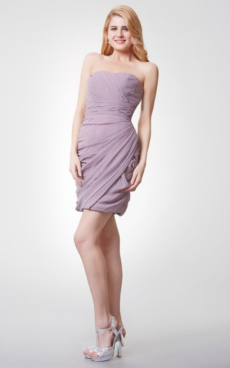 06c52625d Lovely Sweetheart Ruched Mini Chiffon Dress With Side Draping - June ...