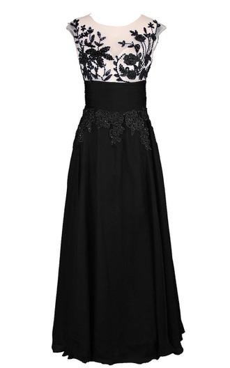 7163cf9a01 Vintage vestido de gasa hasta el suelo de aplicaciones con mangas casquillo