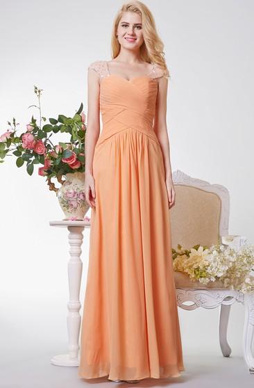 Sheath Floor-Length V-Neck Cap Chiffon Sweep Train Illusion Ruching Dress