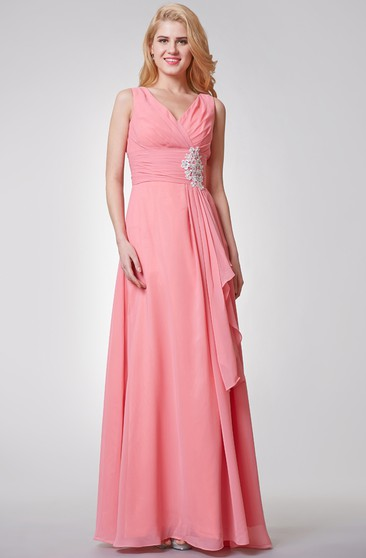 Sheath Floor-Length Bateau Sleeveless Empire Lace-Up Chiffon Dress With Lace