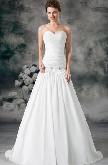 Vintage Mermaid Wedding Dresses Pleat Ruffle Crystals Sweetheart Bridal Gown