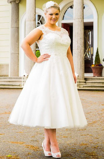 Short Plus Figure Wedding Dress, Short Large Size Bridals ...