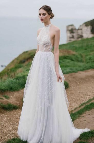 High Neckline Bridal Dresses High Collar Wedding Gowns