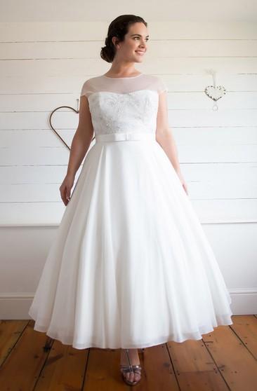 Plus Figure Tea Wedding Dress, Large Size Mid Length Bridals ...
