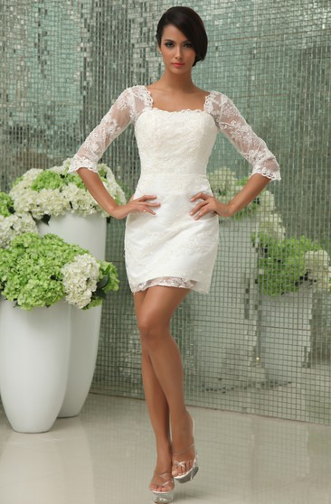 Knee Length Bridal Gowns Shortmidi Wedding Dress June