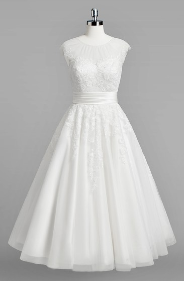 Plus Figure Tea Wedding Dress, Large Size Mid Length Bridals ...