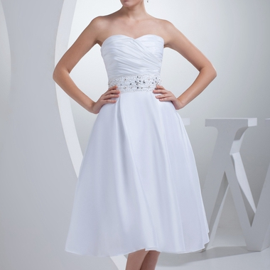 sweetheart tea length a line dress with ruching and