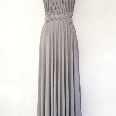Silver Light Grey Long Maxi Infinity Gown Convertible