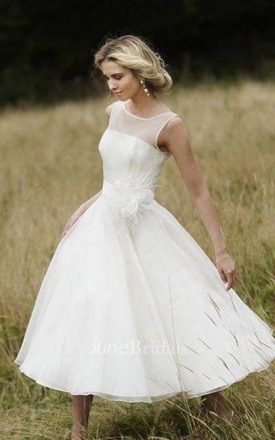 Demure Illusion Neckline Tea Length Dress With Floral Detail