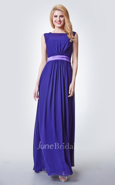 Illusion Neck A-line Chiffon Bridesmaid Dress with keyhole Back