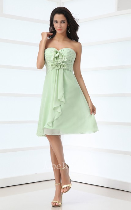 Floral Sweetheart Sleeveless Midi Dress With Cascading Ruffles