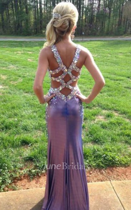 Glamorous Crystals Mermaid Front Split Prom Dress 2018 Straps Zipper