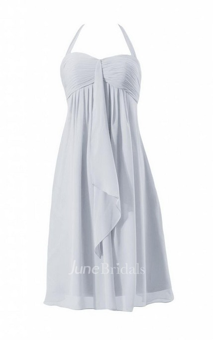 Halter Short Empire Chiffon Dress With Ruching