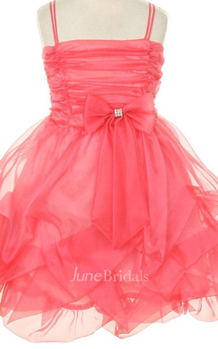 Sleeveless Ruffled A-line Dress With Pleats and Bow