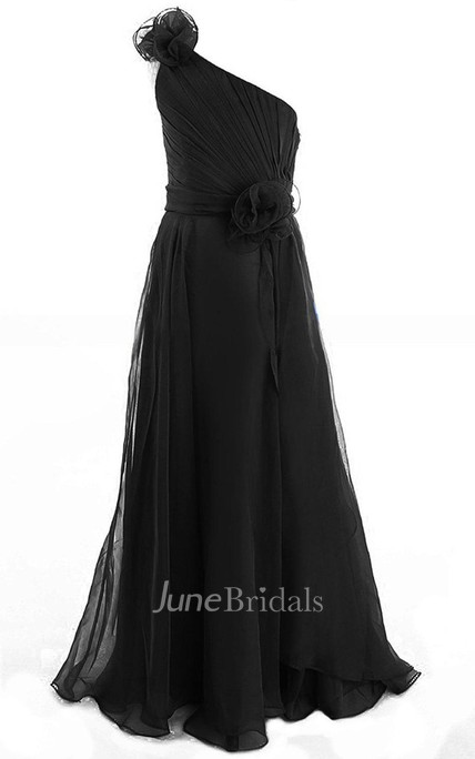 One-shoulder A-line Chiffon Dress With Flower