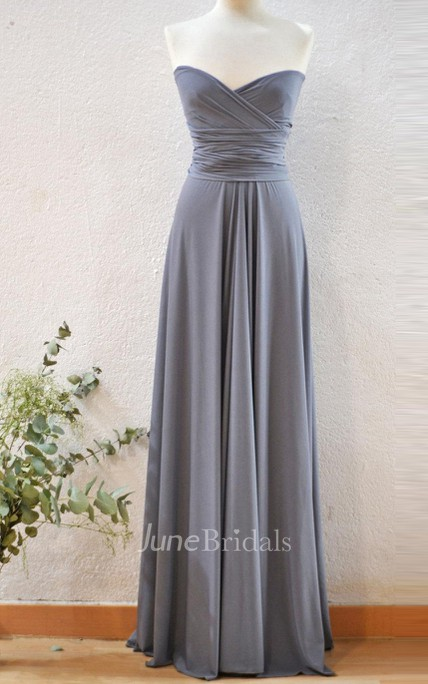 Long Silver Grey Infinity Dress - June Bridals