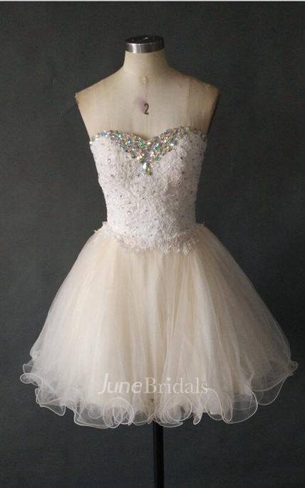 Short Sweetheart Tulle Dress With Lace Bodice And Crystals