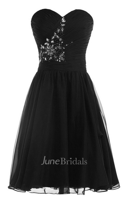Strapless Pleat and Ruched A-line Dress With Leaf Print