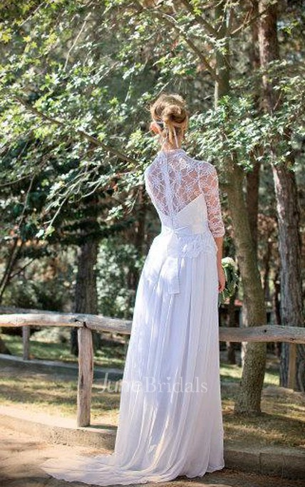 Bohemian Long Wedding White Bridal Lace Ciffon Wedding Gown With Sleeves
