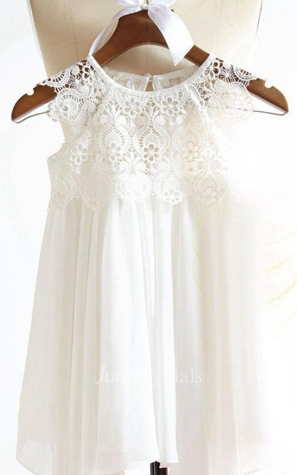 Cap Sleeve Jewel Neckline Chiffon&Lace Dress With Flower
