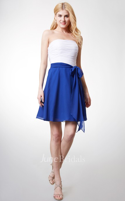 Strapless Short A-line Chiffon Dress With Backless and Sash