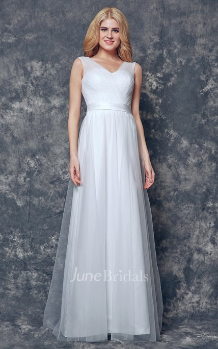 V-neck and V-Back Long Ruched Tulle Dress With Sash