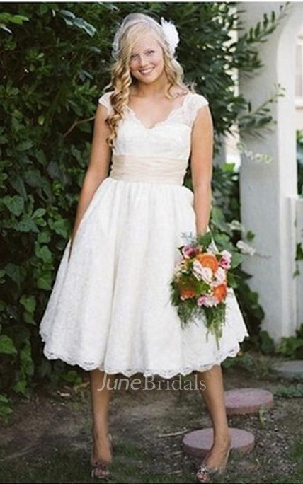 Vintage V Neck Cap Sleeves Appliques Puffy Tulle Tea Length Wedding Gown