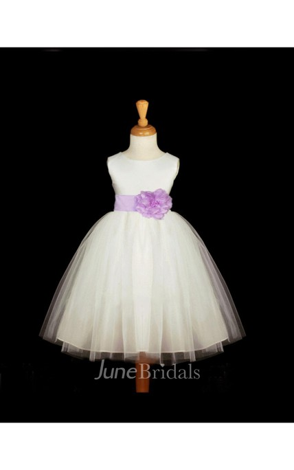 Sleeveless Jewel Neck Pleated Tulle Ball Gown With Flower Belt