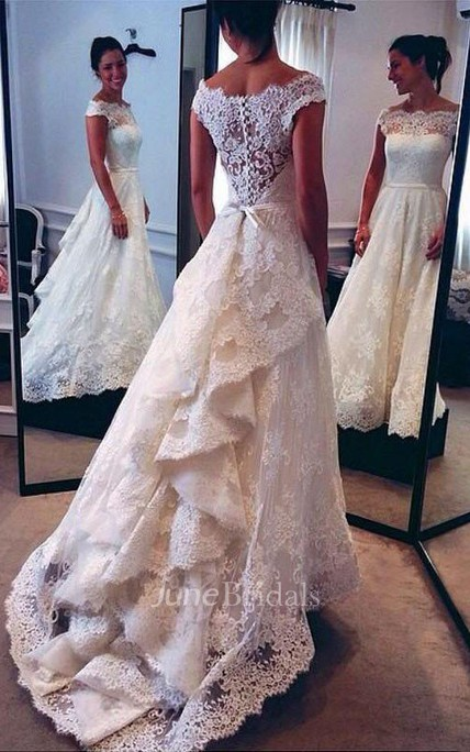 A-line Princess Scoop Lace Court Train Wedding Dresses