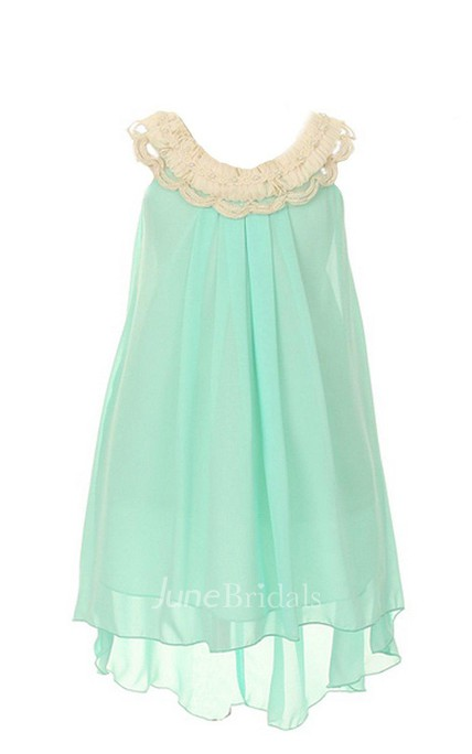 Sleeveless A-line High-low Pleated Dress With Bow