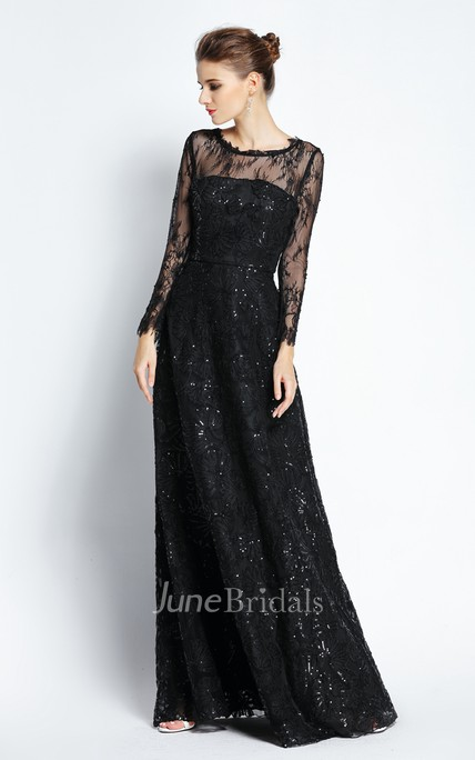 A-Line Bateau Scalloped Illusion Long Sleeve Floor-length Lace Prom Dress with Low-V Back