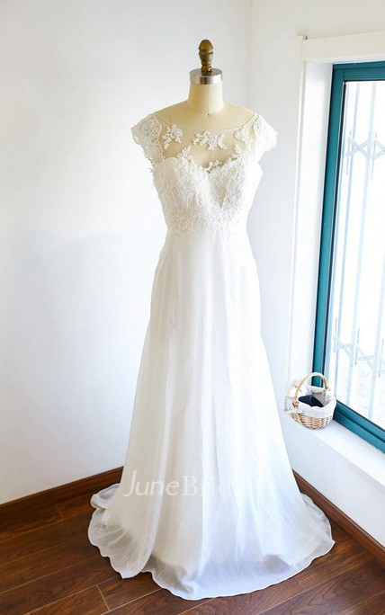 39406e84c5f73 Cap Sleeve Chiffon Tulle Lace Satin Dress With Illusion - June Bridals
