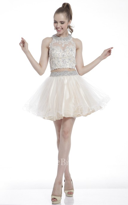 A-Line Short High Neck Sleeveless Dress With Appliques And Beading